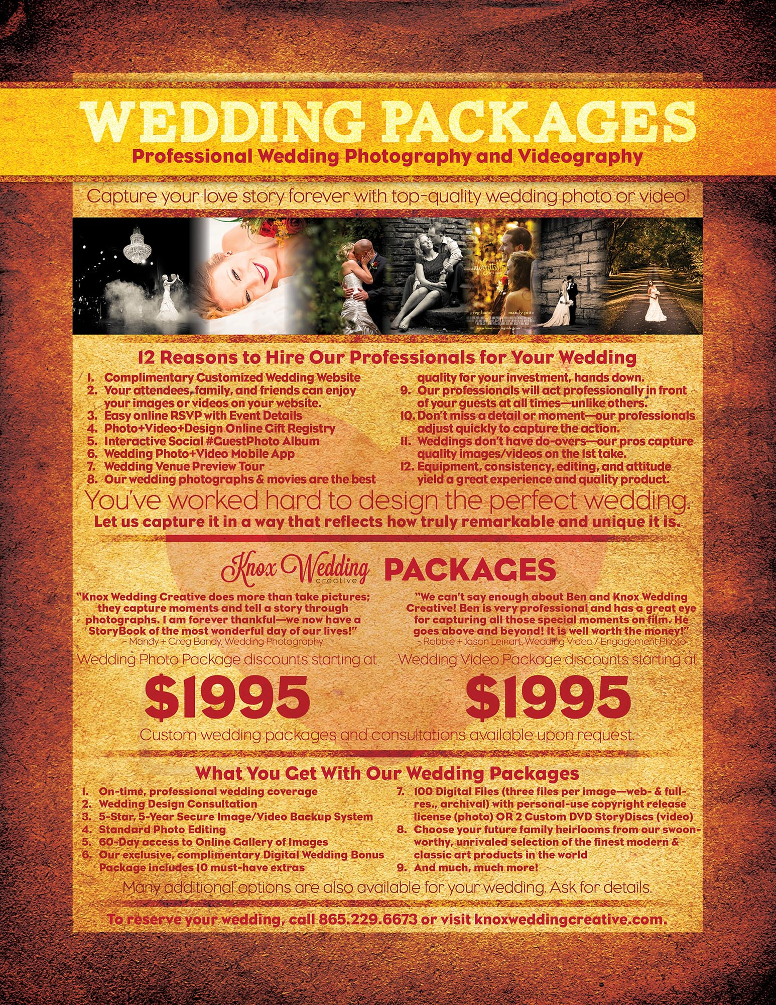 Knoxville Wedding Photographer Videography Knox Creative Weddingpackage Flyer Web
